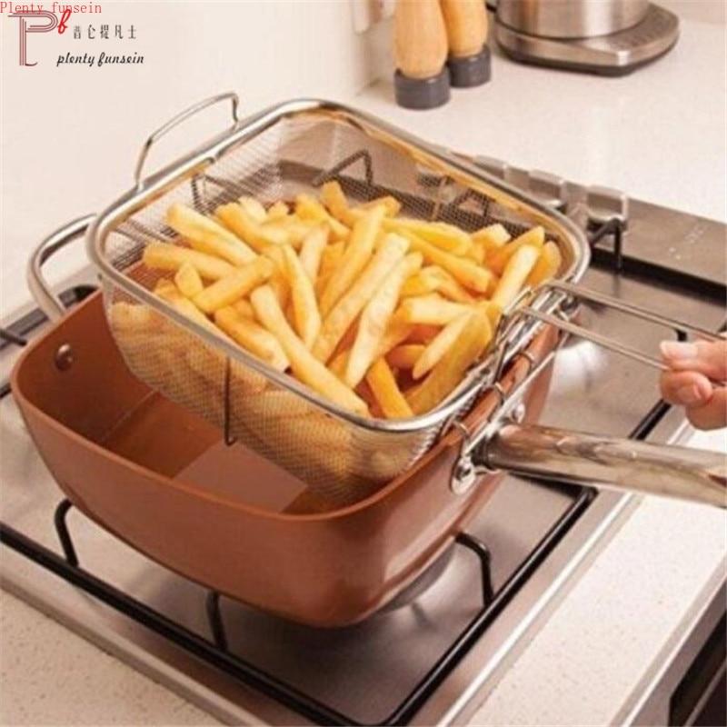 4 pièces antiadhésif cuivre placage carré casserole Induction Chef W/verre couvercle frire panier vapeur Rack 9.5 pouces cuisine batterie de cuisine ensemble - 3