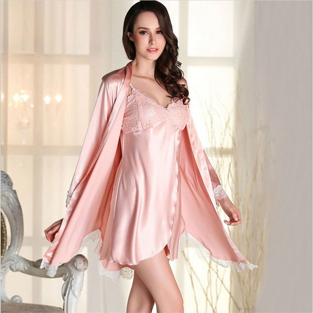 de7fef584f New 2016 Sexy women satin Robe Sets nightwear indoor silk lace Three  Quarter sleepwear(bathrobe