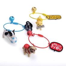 Cartoon 3D Cute Pet Dog Bulldog Car Keychain Animal Lovely Pug Steel Wire Keyring Bag Charm Trinket Toy For Men Woman Jewelry