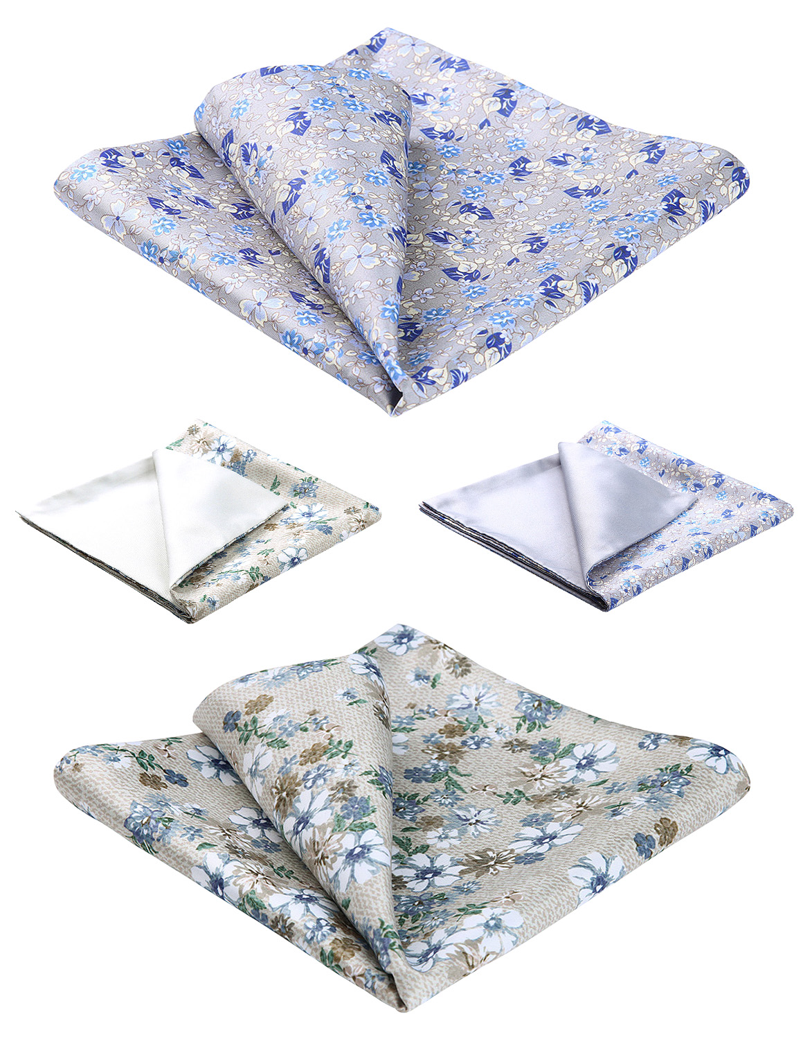 2 Piece Assorted Fashion Paisley Printed Double Sided Men 100% Silk Party Weeding Handkerchief Pocket Square Hanky Set