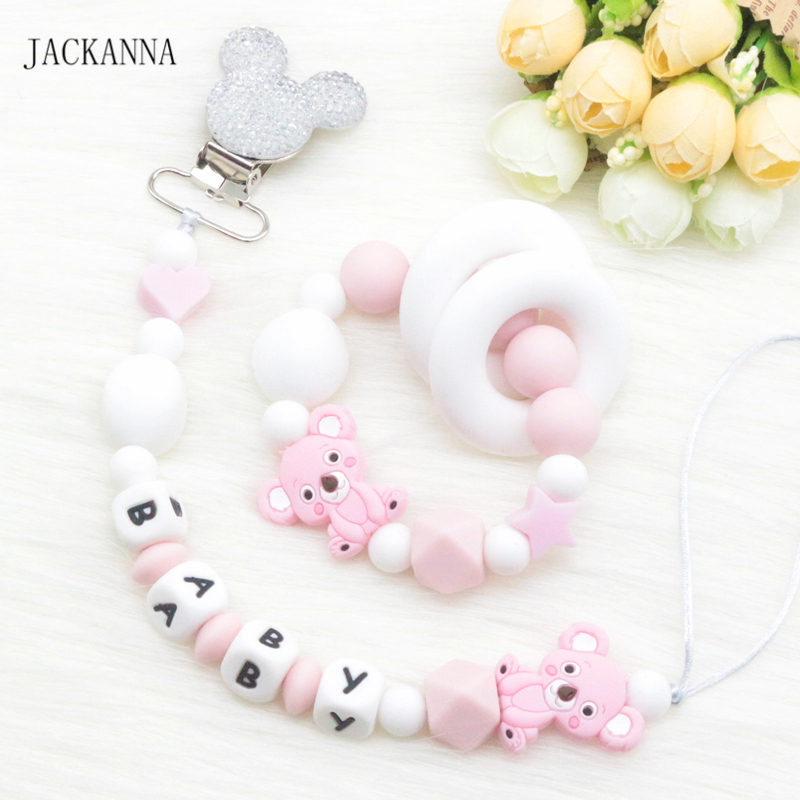 Personalise Baby Pacifier Clips Teething Bracelet Silicone Koala Soother Holder Chain Baby Teether BPA Free Newborn Dummy Clips