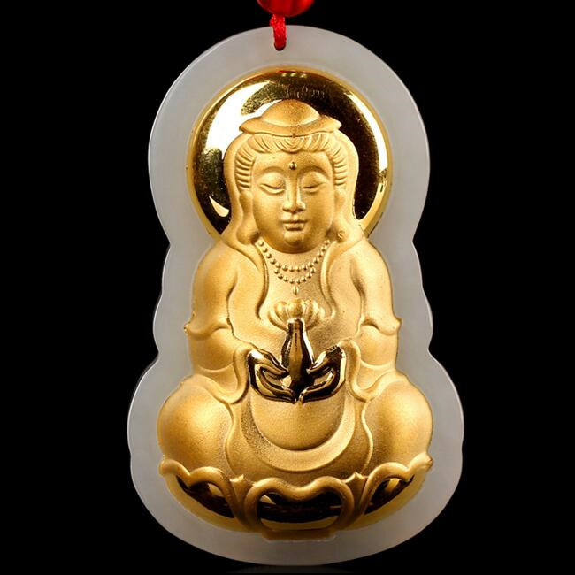 TJP Hot Sales Guanyin Jade Good Luck Top Quality Men Women Necklaces Only For Jewel Free shipping ...