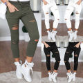 2016 lady Ripped Hole pant plus size 2xl skinny  pants spring summer sexy slim fitted leggings cotton blend fashion capris