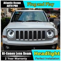 Новый головной свет автомобиля Стайлинг для Jeep Liberty фары 2013 2015 для Jeep Liberty светодиодная фара Биксеноновая двойная линза HID led drl