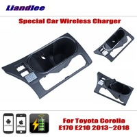Liandlee For Toyota Corolla E170 E210 2013~2018 Special hidden Car Wireless Charger Storage For IPhone Android Battery Charger