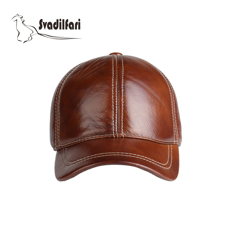 Высокое качество 2018 новая мода реальный кожаный бейсбольная кепка Регулируемый Размер коричневый черный Открытый Зимняя шапка для мужчин