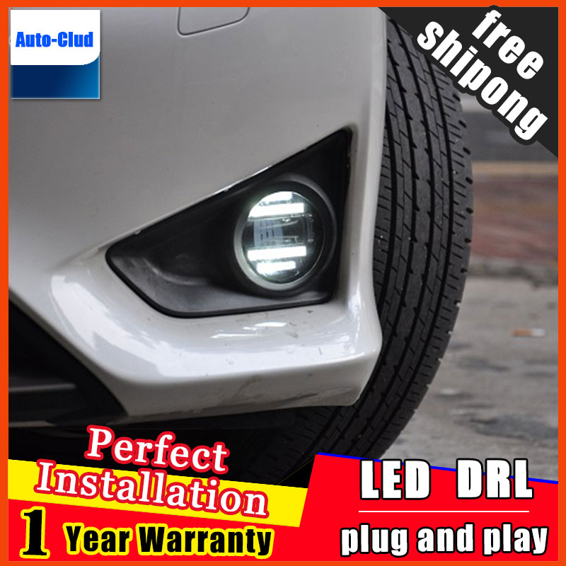 Car-styling LED fog light for Mitsubishi Outlander 2006-2016 LED Fog lamp lens and LED daytime running ligh for car 2 function car fog lights lamp for mitsubishi triton 2 door 2009 on clear lens pair set wiring kit fog light set free shipping