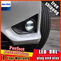 Car styling LED fog light for Mitsubishi Outlander 2006 2016 LED Fog lamp lens and LED daytime running ligh for car 2 function