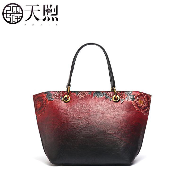 Pmsix Mothers Day leather bag female 2019 new mother bag large capacity middle-aged female handbag first layer leather bagPmsix Mothers Day leather bag female 2019 new mother bag large capacity middle-aged female handbag first layer leather bag