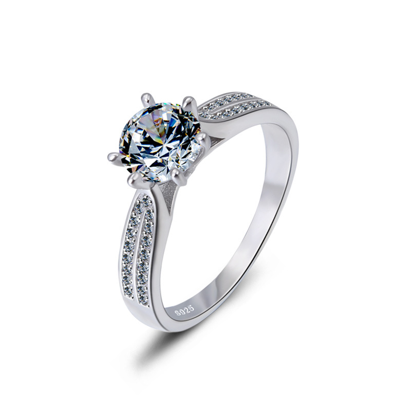 Luxury Jewelry Simulation Diamond Ring 100 925 Sterling Silver Ring Women 39 s High Jewelry Engagement Shiny Ring in Rings from Jewelry amp Accessories