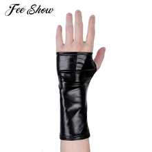 1 Pair Fashion Women Ladies Wet Look Patent Leather Mini Gloves Half Fingerless Thumb Hole Mini Gloves Mittens for Party Costume(China)