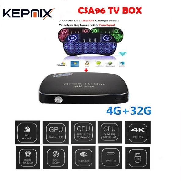 Rockchip RK3399 CSA96 Android 6.0 TV BOX 4G/32G Cortex-A72 + Cortex-A53 64-bit Dual WIFI 2.4/5.0 GHz Bluetooth 4.1 Set Top Box OTTRockchip RK3399 CSA96 Android 6.0 TV BOX 4G/32G Cortex-A72 + Cortex-A53 64-bit Dual WIFI 2.4/5.0 GHz Bluetooth 4.1 Set Top Box OTT