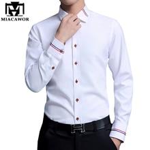 MIACAWOR мужские рубашки, модные оксфордские рубашки с длинным рукавом, Camisa Masculina, приталенная Повседневная белая рубашка C274