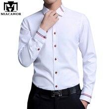 MIACAWOR ربيع طويل الأكمام قمصان الرجال موضة أكسفورد Camisa Masculina سليم صالح عادية قميص أبيض C274