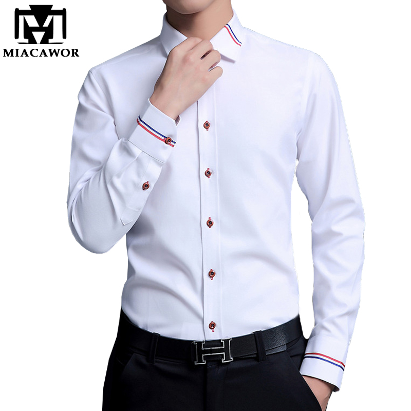 MIACAWOR Dress Shirts Men Fashion Oxford Shirts Long-Sleeve Camisa Masculina Slim Fit Camisa Social Casual White Shirt C274