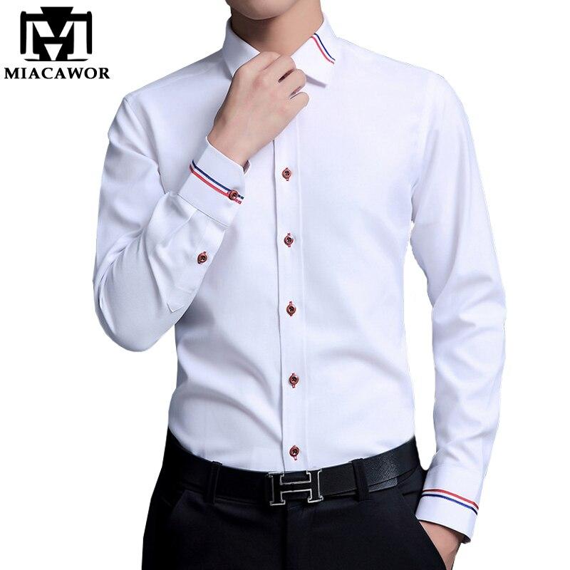 MIACAWOR/Мужские модельные рубашки, мужские Модные оксфордские рубашки с длинным рукавом, Camisa Masculina, приталенная Повседневная белая рубашка C274
