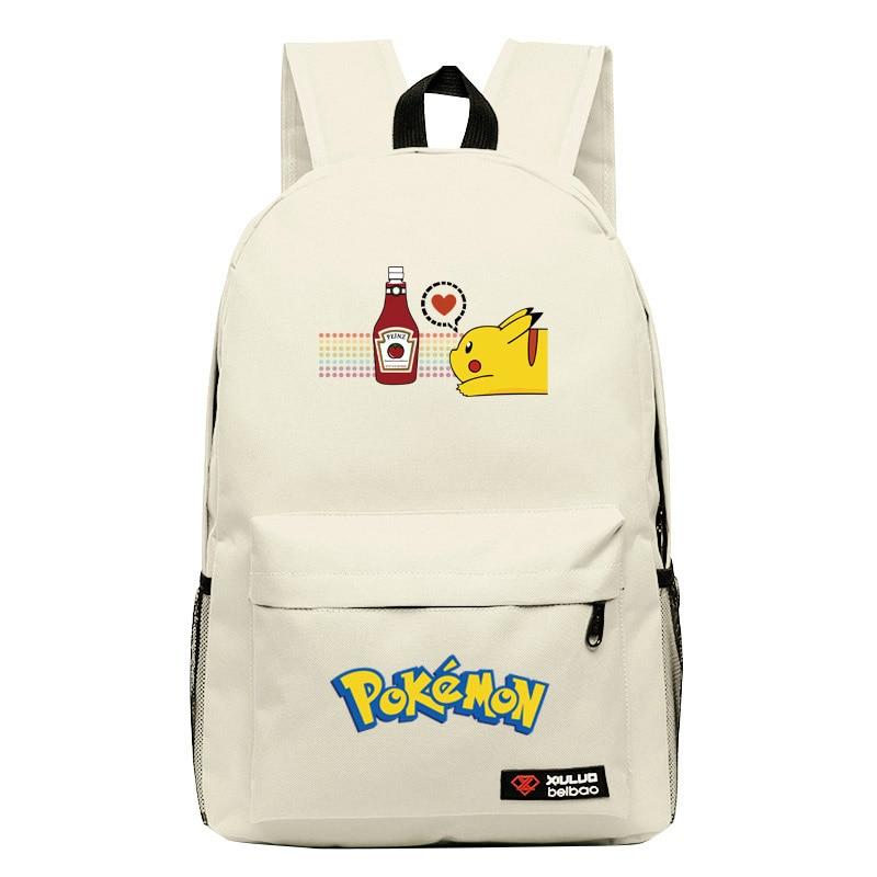 2017 Hot Game Pocket Monster Pokemon Pikachu Squirtle Kawaii Emoji Canvas Printing Backpack Women Children Fashion School Bag #4