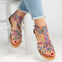 Big Size 42-43 Flat Sandal Women Summer Zipper Canvas Sandals Female Light Weight Casual Shoes For Fashion