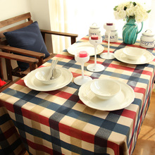Modern Plaid Printed Tablecloth Cotton linen Rectangular Coffee Bar Restaurant Table Cloth Home Kitchen Decorative  Cover