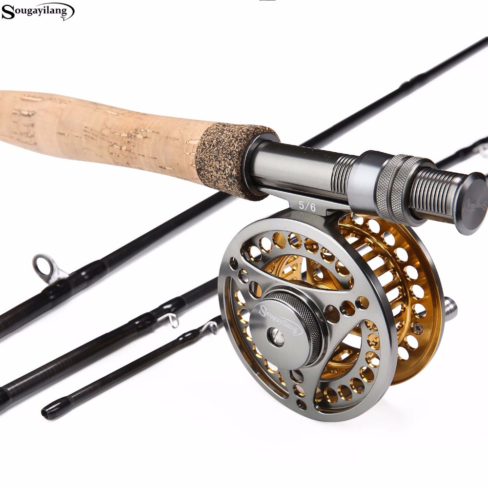 Sougayilang Fly Fishing Rod and 5/6 Fly Reel Sets 2.7m Carbon Freshwater Fly Rod Full Metal Fishing Reel Combo Fish Tackle Pesca fly fishing combo 5wt 9ft carbon fiber fly rod