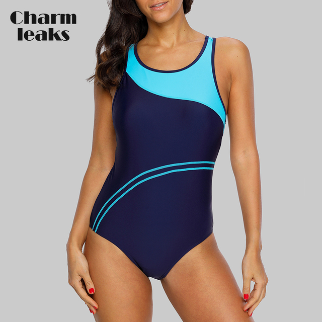 Charmleaks One Piece Women Sports Swimwear Striped Swimsuit Women Bikini Beach Wear Bathing Suit Monokini