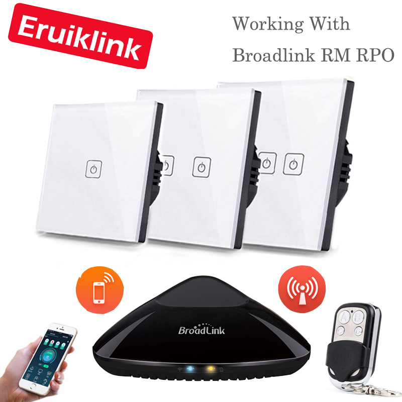 Eruiklink EU/UK Standard 1 2 3 Gangs RF433 Remote Control Wall Touch Switch, Wireless Remote Control Light Switches Smart Home