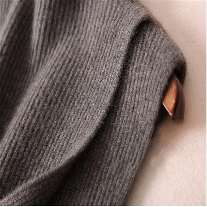 Laine Demi De Couleur Split Cachemire Pull Et Mode Section ardoisé Noir Hiver Longue Lâche Tricot En Gilet col Nouvelle Automne Solide Haut HYqpF