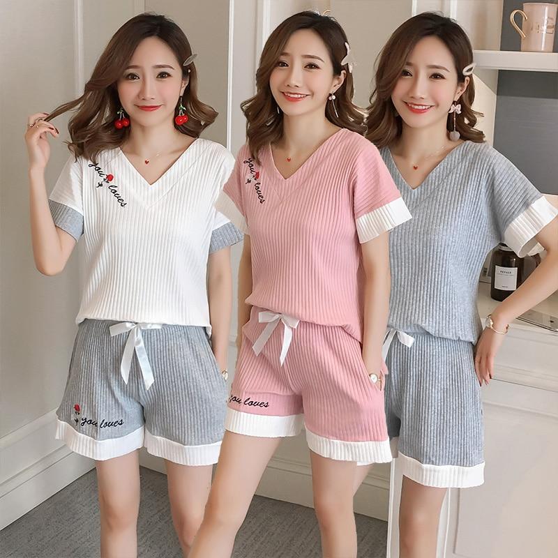 2019 Summer 100% Cotton Short Sleeve V-neck   Pajama     Set   for Women soft Shorts Sleepwear Pyjama Homewear Pijama Mujer Home Clothes