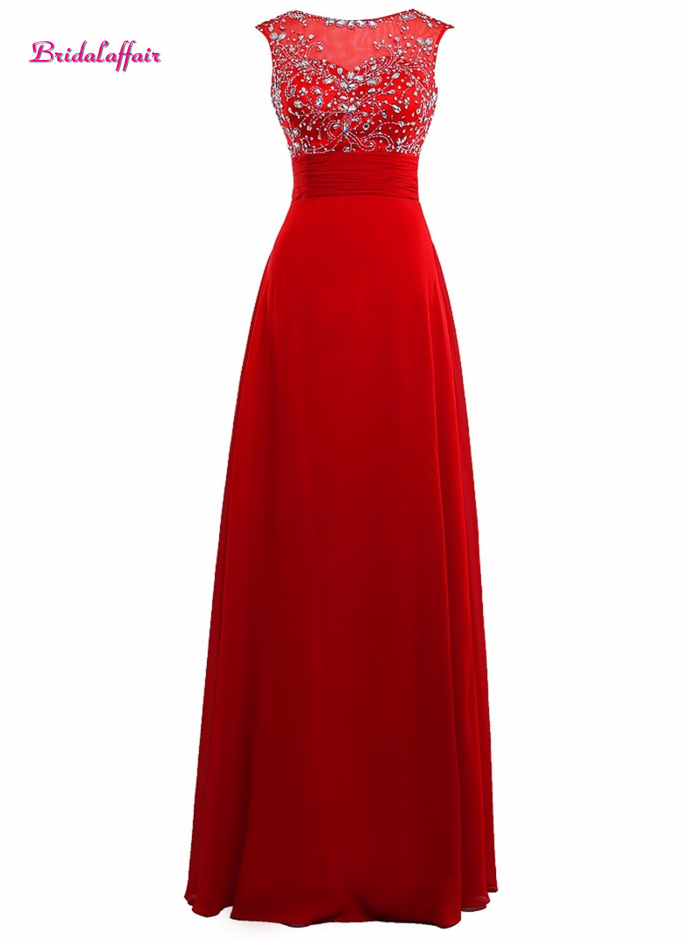 Bridalaffai Real Photo Red Satin Crystal Prom Dresses 2017 Custom made Sleeveless Scoop Neck Party Dress Simple Vestido de festa