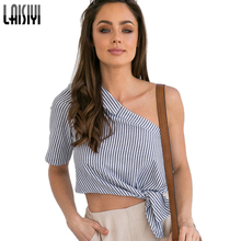 LAISIYI Striped Sexy One Shoulder Blouses Crop Top Women Backless Fashion Summer Tops 2019 Plus Size Tee Shirt Blusas ASBL20051