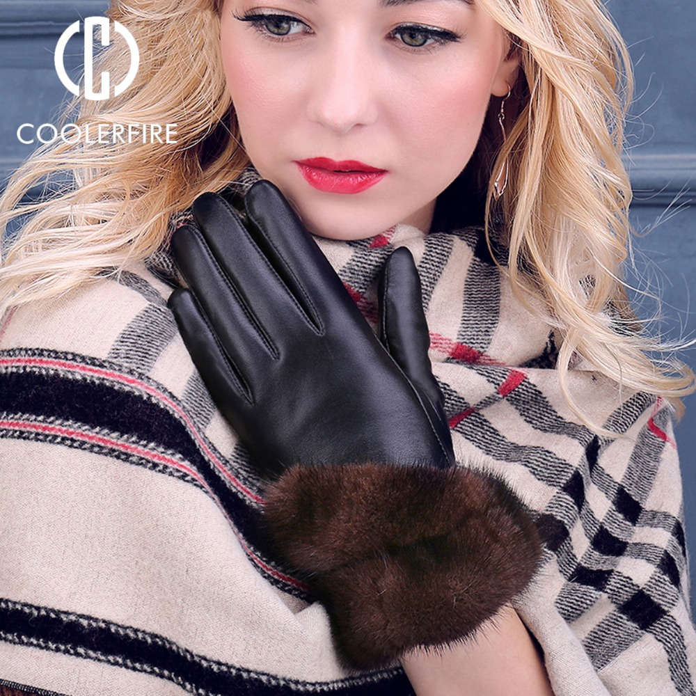COOLERFIRNew Designer Wome Gloves High Quality Genuine Leather sheepskin Mittens Warm Winter Gloves for fashion Female ST013