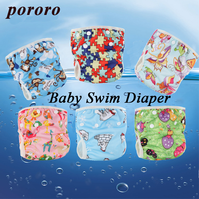 [Pororo] Baby Swimming Diaper Pant Washable Reusable Swimsuit Breathable Cover Reusable Pants Diaper Girl Boy Diaper Baby Nappy