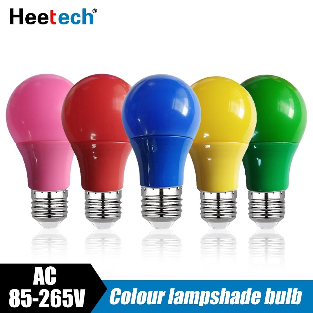 Цветная светодиодная лампа E27, Светодиодная лампа 5 Вт 7 Вт 9 Вт, лампа красного, синего, зеленого, желтого, розового цветов, лампа KTV для вечеринки, домашнего декора Светодиодные лампы и трубки      АлиЭкспресс