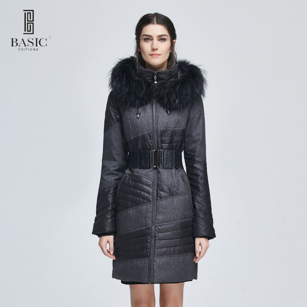 Basic Editions Women Winter Slim Fit Belt Fur Hood Duck Down Jacket Coat - ZY12066 basic editions fall winter brown metallic silk fabric cotton coat with rabbit fur collar with belt covered button 7001d11