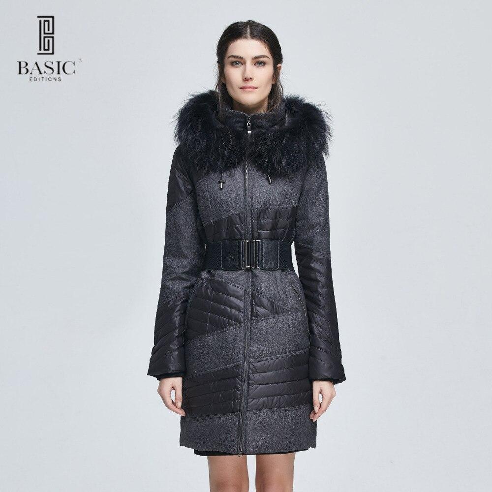 Basic Editions Women Winter Slim Fit Belt Fur Hood Duck Down Jacket Coat - ZY12066