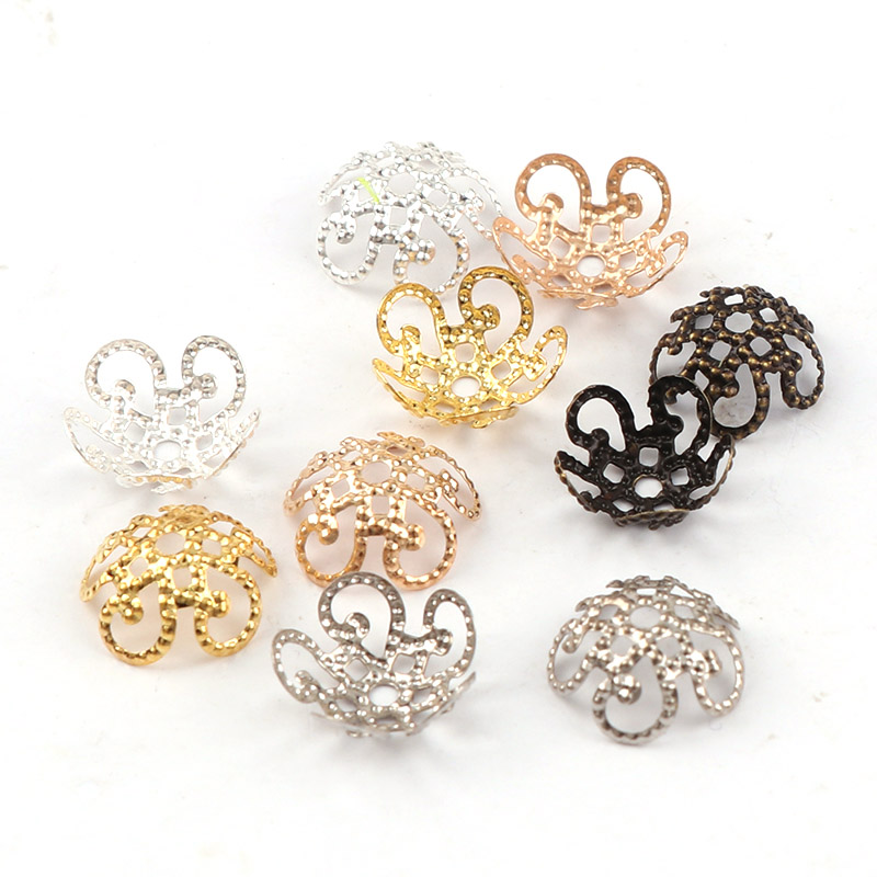 11mm Shiny Vintage Filigree Metal Hollow Flower Spacer Beads End Caps Pendant DIY Charms Connectors Jewelry Findings