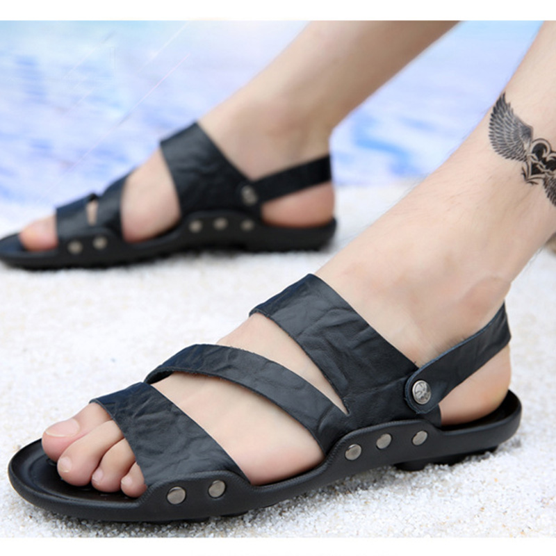 Dropshiping New Arrive Sandals For Men Cheap Pu Leather Men's Sandals High Slip On Comfortable Men Flats Size Quality Male Shoes