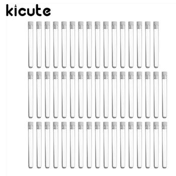 Kicute 50 pièces/pack flacons de Tube à essai en plastique Transparent de laboratoire Transparent + bouchons de poussée fournitures de laboratoire scolaire 12x100mm faveurs de mariage