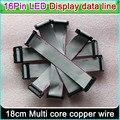 Display LED linha de dados, 16 Pinos Cabo Plano Flexível 18 cm de comprimento, P3 P5 P6 P10 Single & double color Full color Sinal de linha de conexão