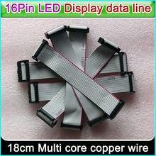 Linha de dados da tela do diodo emissor de luz, cabo liso flexível 16cm de 16 pinos comprimento, linha de conexão do sinal da cor completa da cor p3 p5 p6 p10 único & dobro