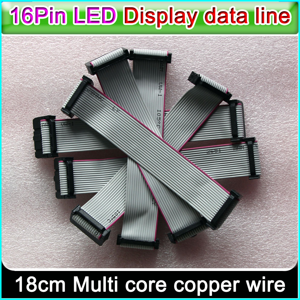 LED Display Data Line,16 Pin Flexible Flat Cable 18cm Length, P3 P5 P6 P10 Single&double Color Full Color Signal Connecting Line