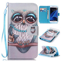 Phone Case Cover For Samsung Galaxy S7 New Painting PU Leather Magnetic Stand Wallet Protective Case