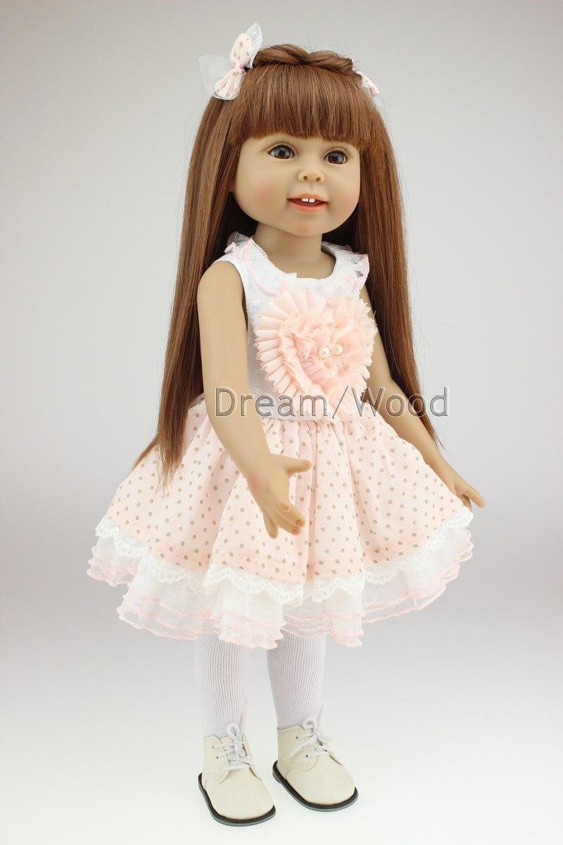 18 pouce American Girl Poupée 45 cm Silicone Poupée Reborn Bébé À La Main Doux Petites Filles Poupée Brinquedos Jouet