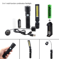 3 in 1 T6 COB 3 mode Rechargeable Flashlight Torch lamp Car Repair LED Work Light Hand Linternas Torch by 1*18650 or 3*AAA Lamp