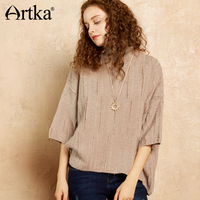 Artka 2017 Autumn Winter Drop Shoulder Three Quarter Sleeves Vintage Casual Pullover Knitwear YB11476Q