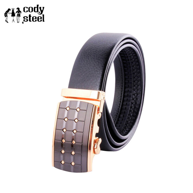 Cody Steel Mens Fashion Belt Automatic Buckle Pu Leather Business