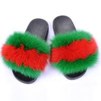 2019 Real Fox Fur Slippers Women Fashion Sliders Spring Summer Autumn Fur Slides Indoor Outdoor Sandals Flat Gloves