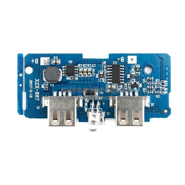 1 cái Kép Micro USB 3.7 v đến 5 V 2A Mobile Điện Bank DIY 18650 Lithium Sạc Pin PCB Board Boost Step Up Module Với Led