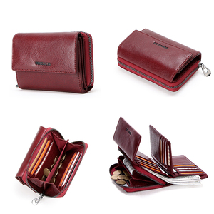 Image 5 - Contacts Genuine Leather Wallet women Short Coin Wallets for Women female Card Holder Small hasp Money Bag portfel damski