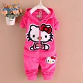 Baby Girls Clothes 2017 Autumn Spring Hot Style Hello Kitty Children's Clothing Suits Kids Clothes 2pcs T2718